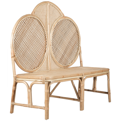 Rattan bench with high backrest -Natural