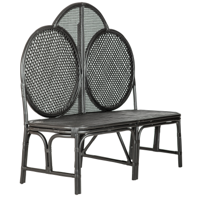 Rattan bench with high back -Black