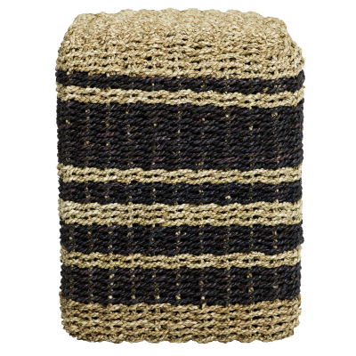 Puff en seagrass - Natural y negro