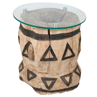 Hollow wood side table with glass top drawings