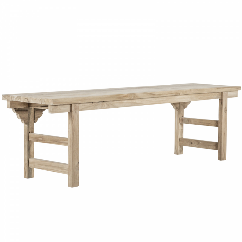 Recycled teak bench and carved motifs