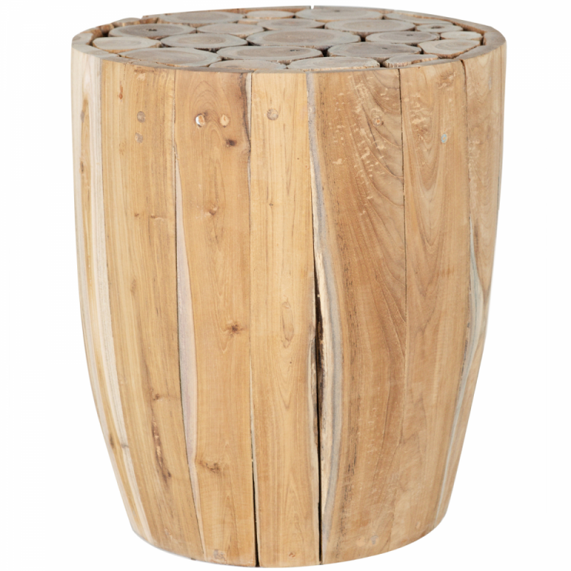 Stool/wooden side table - teak branches Plain