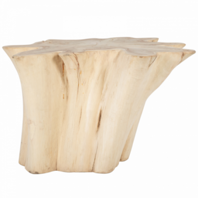 Wooden side table, suar root - Bleaching