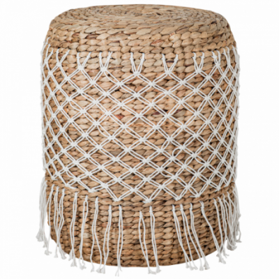 Natural rattan coffee table with macrame decoration