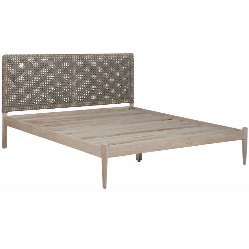 Bed with recycled teak base