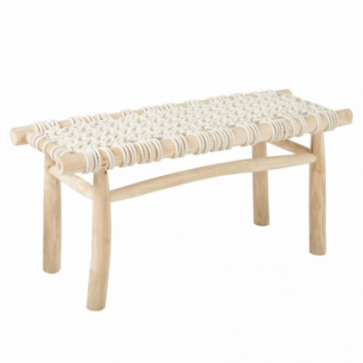 Cotton Bench , Teak Wood and Cotton cord, Natural white, NC Lacquer
