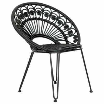 Iron leg and rattan seater Natural Rattan All Solid Black Color