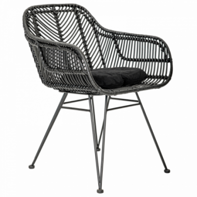 Iron leg and fram rattan decoration Natural Rattan All Solid Black Color