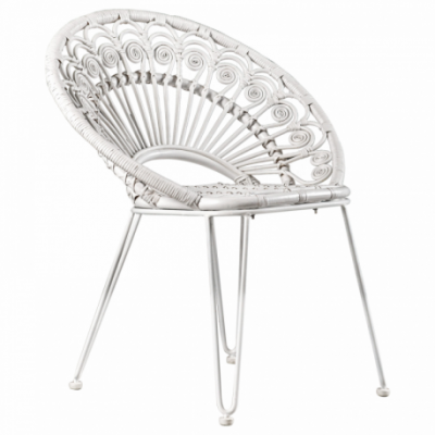 Iron leg and rattan seater Natural Rattan All Solid White