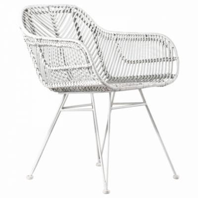 Iron leg and fram rattan decoration Natural Rattan All Solid White Color