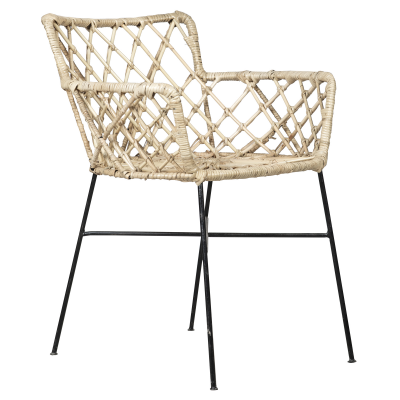 Rattan chair with metal legs